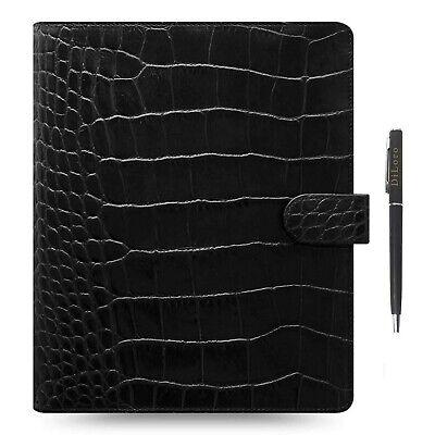Filofax A5 Classic Croc Print Ebony Black Leather Organizer Agenda 2020