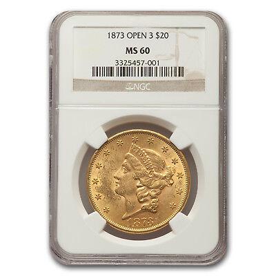 1873 $20 Liberty Gold Double Eagle MS-60 NGC (Open 3) - SKU#115001
