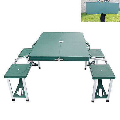 Kinbor Portable Folding Camping Picnic Table Set  w/4 Seats Outdoor Garden BBQ