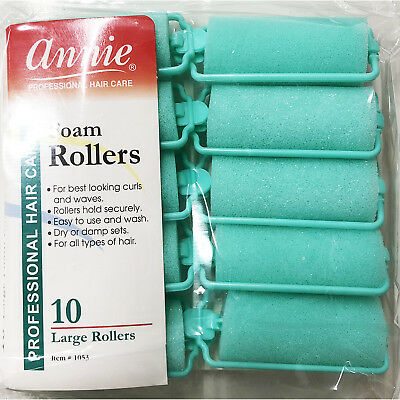 - ANNIE CLASSIC FOAM CUSHION ROLLERS #1053, 10 COUNT GREEN LARGE 1