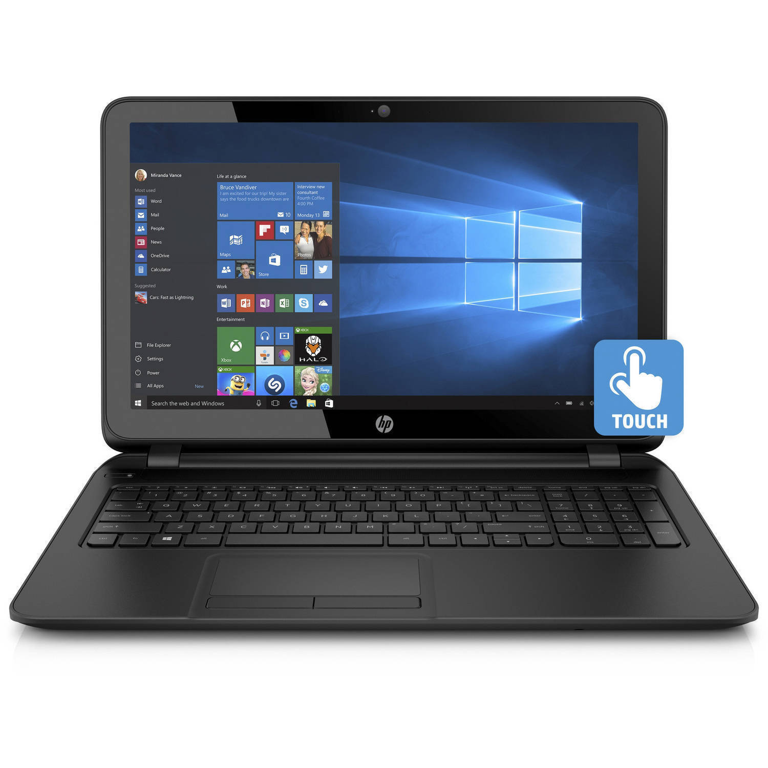 "Laptop - New HP15.6"" Touchscreen Laptop/Intel Quad Core/4GB/500GB/Win10/Blk 15-F222WM"