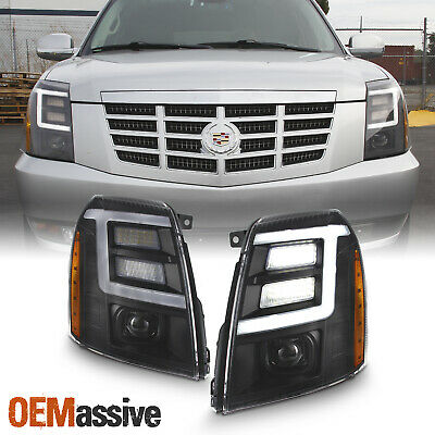 For 2007-2014 Cadillac Escalade [Xenon/HID] Black LED DRL Projector Headlight