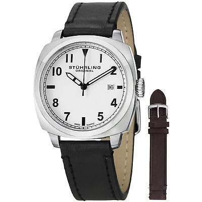Stuhrling Tuskegee Spitfire Watch Set Men's 40mm Black Calfskin Watch 770.SET.01