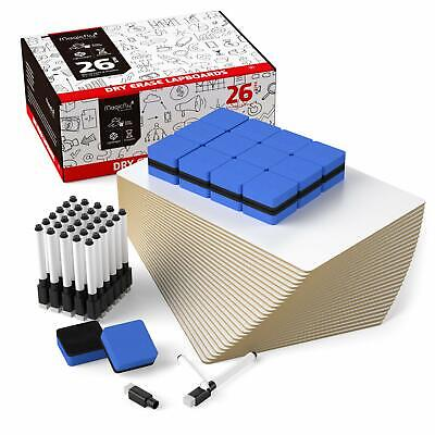 26pcs Dry Erase Lap White Board Classroom Office Eraser Magnet 9 X 12 Inches