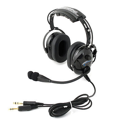 Rugged Air RA200 General Aviation Pilot Headset GA Dual Plugs w/ MP3 Music Input