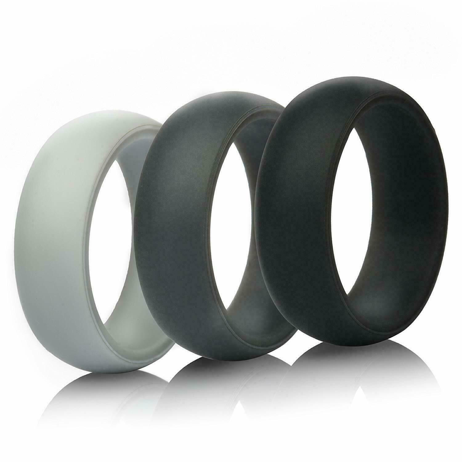 silicone rings wedding rings 3 pack gray