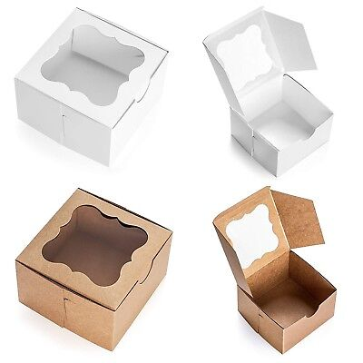 Brown Bakery Box With Window 4x4x2.5 Inch - 25 Pack - Eco-friendly Paper Boar...