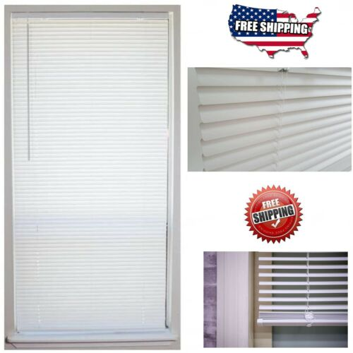 """Cordless 1 in. Vinyl Mini Blind Window Shade 64"""" Length All Size Width Indoor"""
