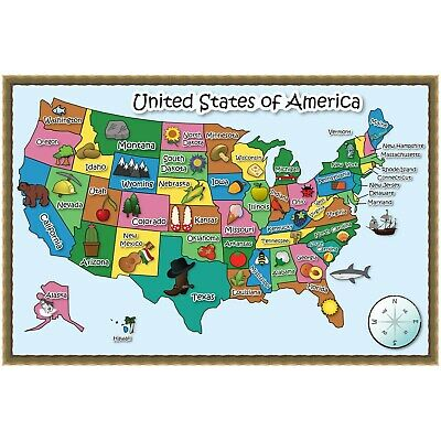USA Map for Kids Dry Erase Laminated Wall Removable Self Adhesive Large 36