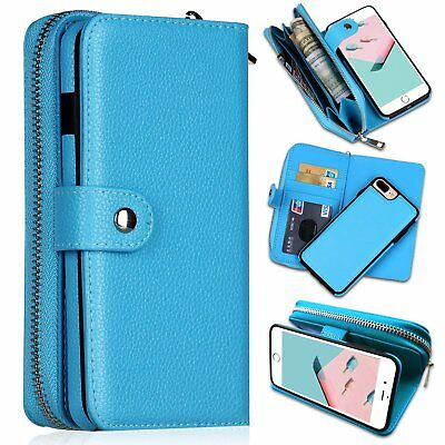 Leather Zipper Case - Detachable Zipper Leather Wallet Phone Bag Case for iPhone XR 7 S10 Plus Samsung