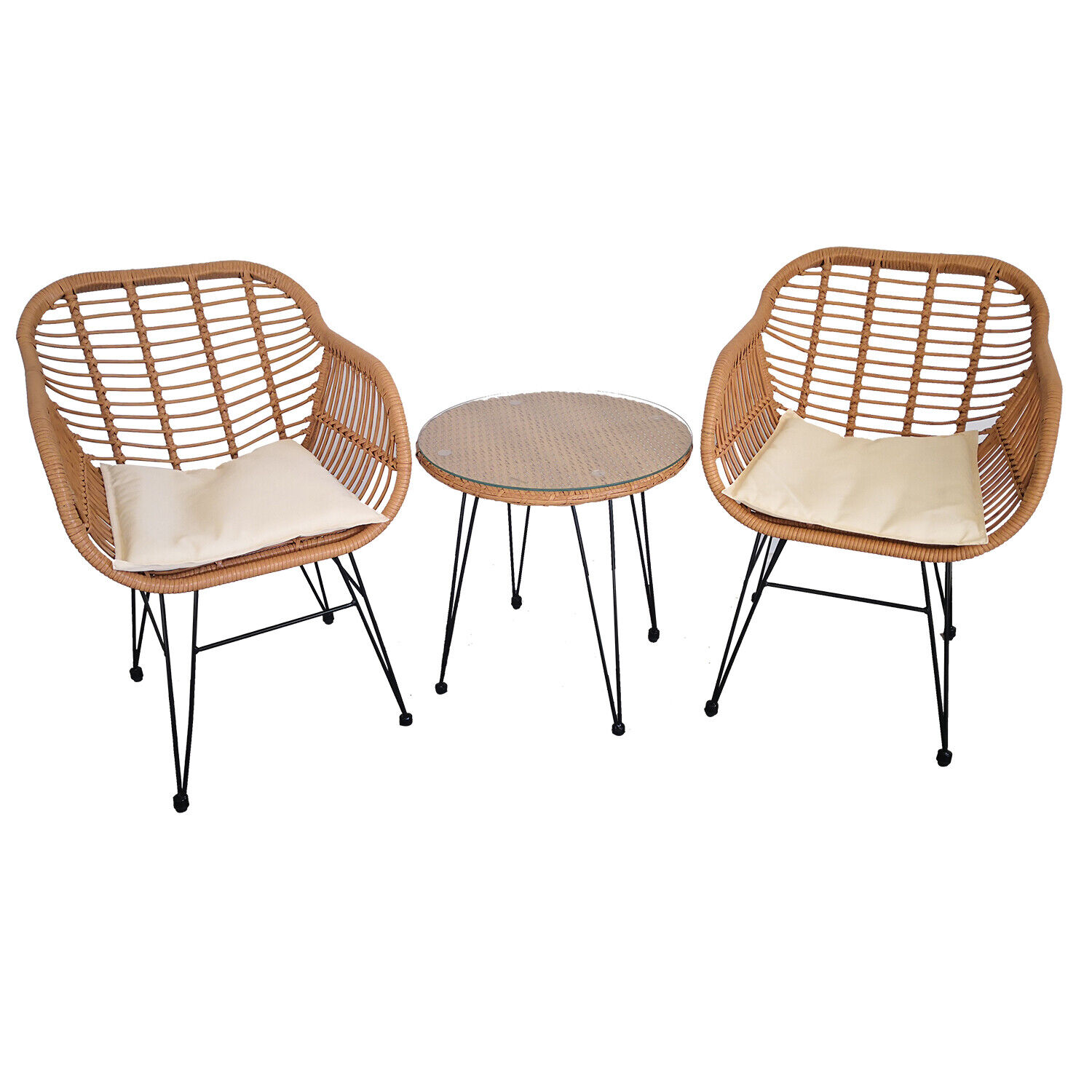Garden Furniture - 3pc Lounge Set Outdoor Furniture Rattan Wicker Chair Table Garden Patio Balcony