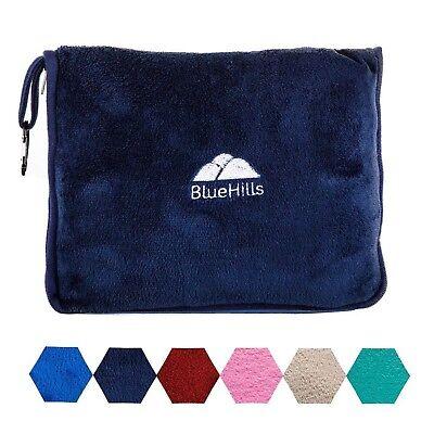 BlueHills Premium Soft Blue Travel Blanket Pillow Airplane Blanket in case