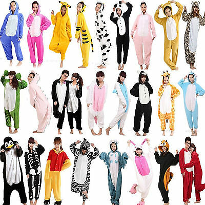 Hot Fancy Dress Cosplay Onsie Adult Unisex Hooded Pyjamas Animal Sleepwear UK - Adult Onsie Costumes