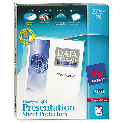 Avery Top-load Poly Sheet Protectors Heavy Gauge Letter Diamond Clear 100box