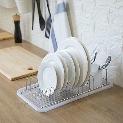 Home Zone Kitchen Dish Drying Rack with Drain Board, Single-Tier