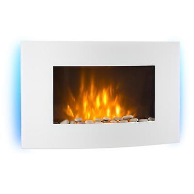 Wandkamin Elektrokamin Heizlüfter Flammeneffekt E Kamin Zimmer Ofen Weiß 2000W