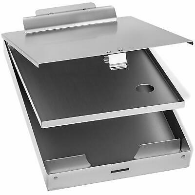 Aluminum Clip Board 2 Compartment Document Storage Box Metal Office Letter Size