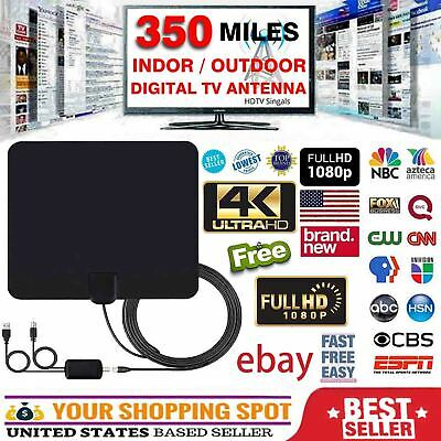 2019 NEW HDTV ANTENNA BEST 350 MILES LONG RANGE LESOOM INDOOR TV DIGITAL 4K
