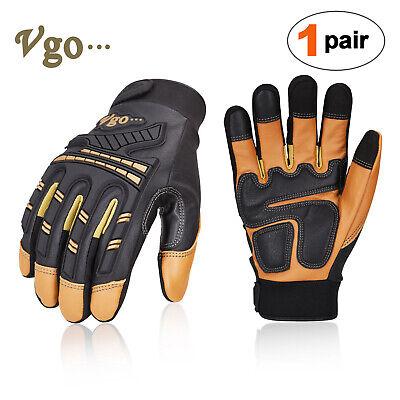 Vgo 1pair Goatskin Heavy Duty Mechanic Gloveswork Glovesanti-vibrationga8954