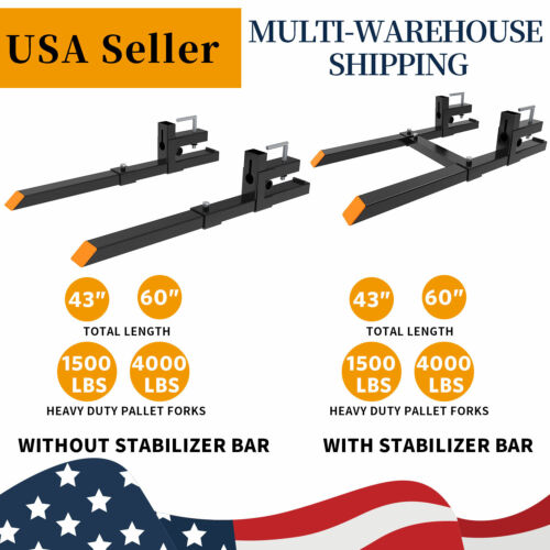 """1500lb/4000lb Tractor Pallet Forks Bucket Clamp 43""""/60"""" Skid Steer Thick Steel"""