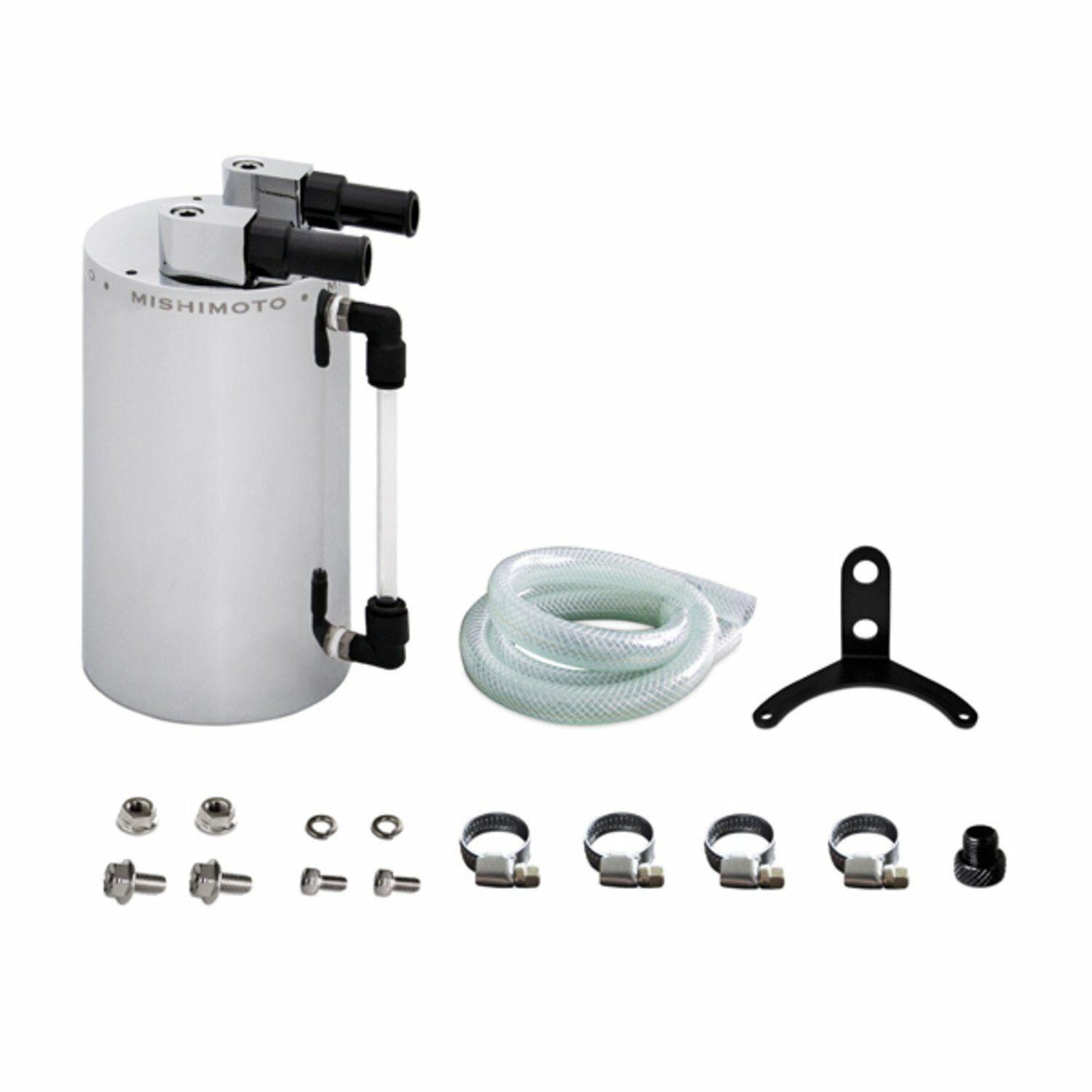 Mishimoto Universal Black Oil Catch Can Includes Hose and Hardware MMOCC-RB