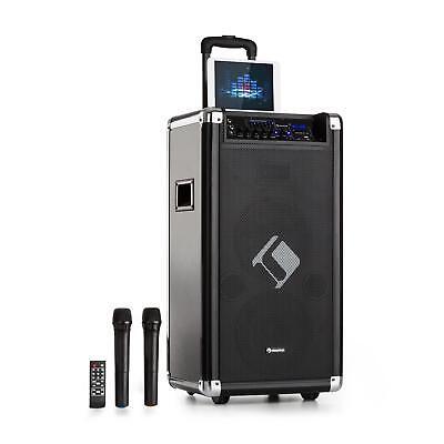 Mobile DJ PA Anlage Karaoke Lautsprecher Akku Box Mikrofon USB SD Bluetooth 200W