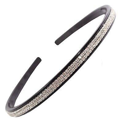 Luxus Haarreifen schwarz mit 2 Reihen Strass Strasssteinchen (Schwarz Mit 2)