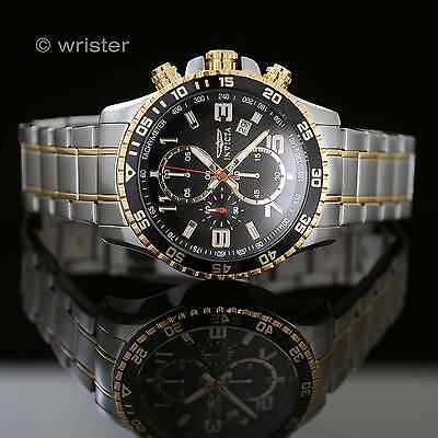 Invicta Specialty Chronograph 18k GOLD Plated Two Tone Black SS NEW Mens Watch !