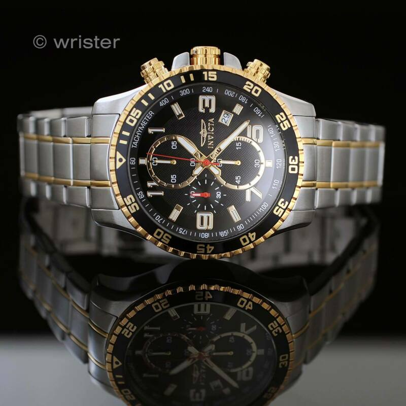 Invicta Specialty Chronograph 18k GOLD Plated Two Tone Black SS NEW Mens
