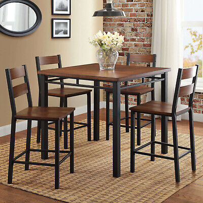 5-Piece Counter Height Table Chairs Dining Room Kitchen Nook Set, Brown Oak - Oak Dining Table Set