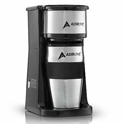 AdirChef Appropriate N' Go Personal Coffee Maker with 15 oz. Travel Mug Black/Stainless