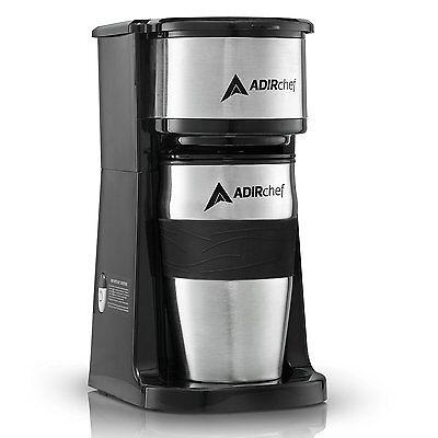 AdirChef Grab N' Go Personal Coffee Maker with 15 oz. Travel Mug Black/Stainless