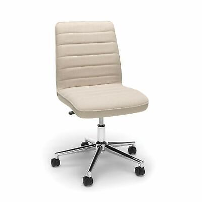 Mid-back Armless Office Task Chair In Tan Fabric W Adjustable Height Swivel