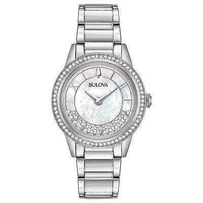 Bulova Women's Quartz Crystal Accent Silver-Tone Bracelet 32mm Watch 96L269