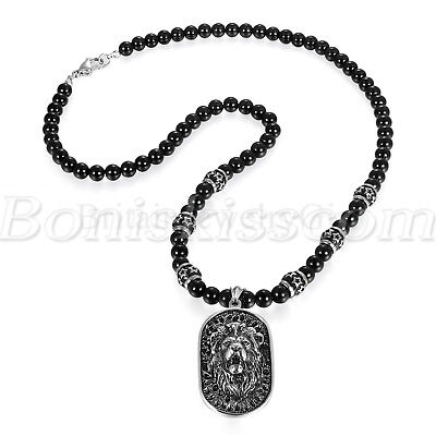 Mens Vintage Stainless Steel Lion Head Shield Pendant Onyx Beads Chain Necklace