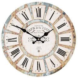 Clayre&eef Vintage Wall Clock Country House Style * Cafe de La Tour Paris Shabby