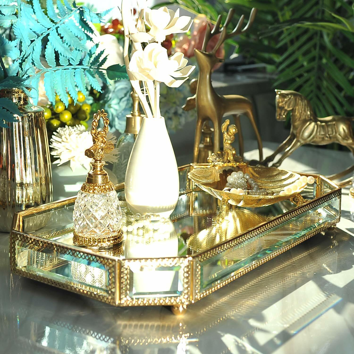 Decor Accents Ornate Mirrored Glass Vanity Tray Gold Trim Gr