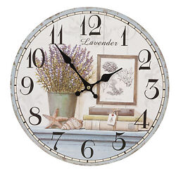 Clayre & eef Vintage Wall Clock Country House Style Shabby Chic Lavender Decor
