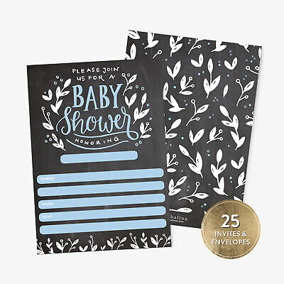 25 Baby Shower Invitations Boy with Envelopes Blue Handlettered - Baby Invitations