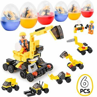 6 PCS Filled Easter Eggs Building Blocks Vehicles Kids Boy Gift Party Supplies - Easter Party