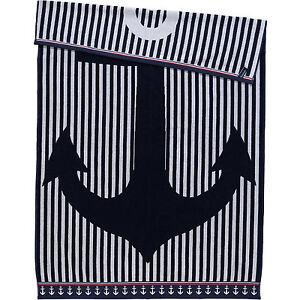 100-Cotone-COPPA-DE-VILLE-Blu-Navy-Bianco-Ancora-X-Grande-Telo-Da-Spiaggia
