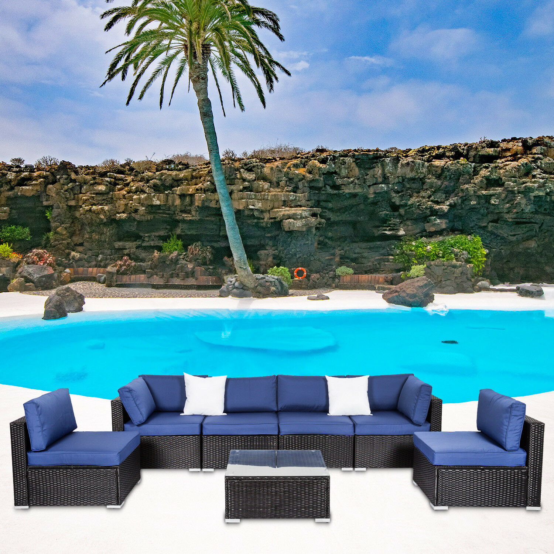 Garden Furniture - 7PC Wicker Sofa Set Garden Rattan Sectional Furniture Outdoor Patio Cushion Navy