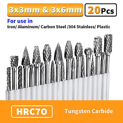 20pcs Head Tungsten Carbide Rotary Burr Die Grinder Bit Shank Carving Set 6mm