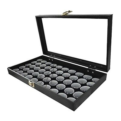 1 Glass Top Lid Black 50 Jar Box Case Display Gems Body Jewelry Gold Nuggets