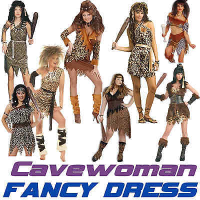 CAVEWOMAN Stoneage Ladies Jungle Cave Girl Fancy Dress Costume