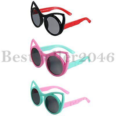 Kinder Sonnenbrillen Brillen Katze Ohr flexiblen Gummirahmen für Mädchen 3-10