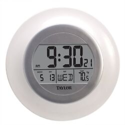Digital Wall Clock Temp Day Date Quartz Atomic Large LCD Time Round Display New
