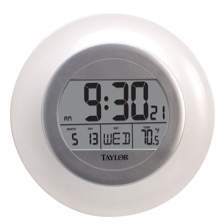 Digital Wall Clock Temp Day Date Quartz Atomic Large LCD Tim