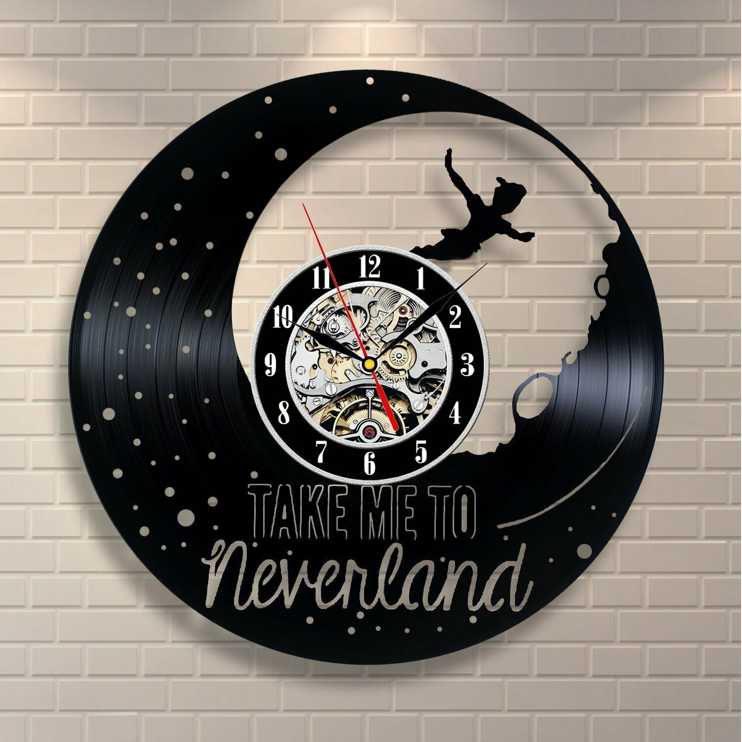 You Re Almost Done Peter Pan Disney Neverland Wendy Tinkerbell Vinyl Clock Home Decor