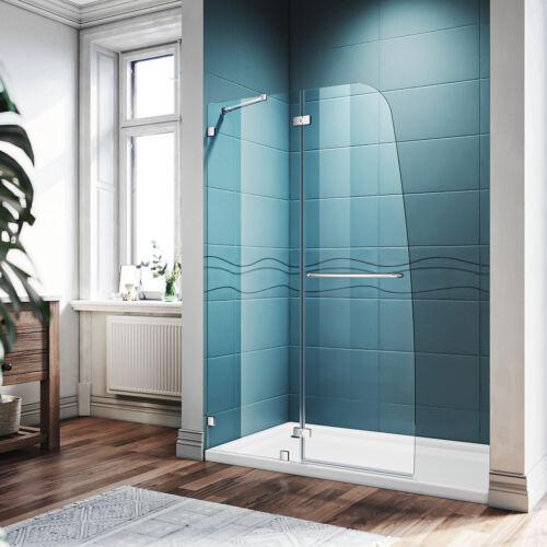 SUNNY SHOWER 45 x 72 Frameless Swing Hinged Shower Door Chrome Finish 1/4 Glass